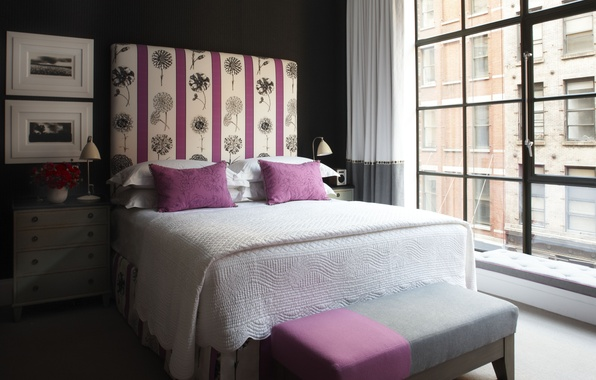 Picture design, the city, style, room, interior, bedroom, city apartment