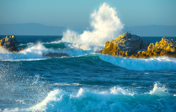 Picture sea, wave, mountains, squirt, storm, stones, rocks