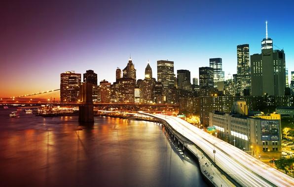 Picture bridge, lights, home, New York, skyscrapers, the evening, USA, promenade, Manhattan, New York City