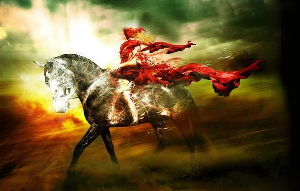 Picture the sky, light, clouds, horse, the wind, Wallpaper, horse, rider, cloak