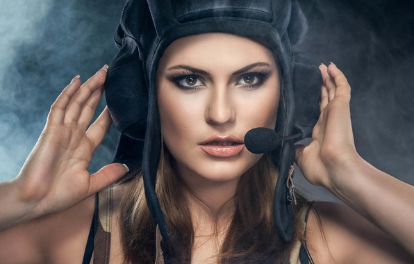 Picture look, girl, style, goal, device, girl, beautiful, military, style, military, tanker, wallpaper., headset, beautiful background, …