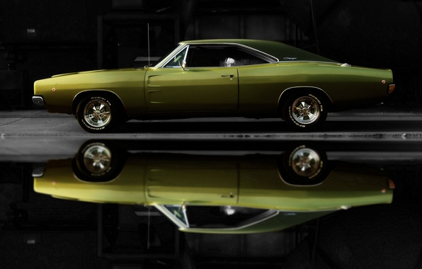 Picture car, machine, auto, Dodge, green, Charger, 1968