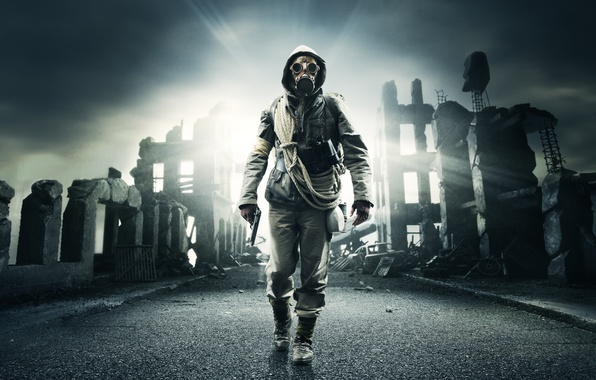 Picture road, the sky, gun, smoke, hood, gas mask, Stalker, ruins, rope