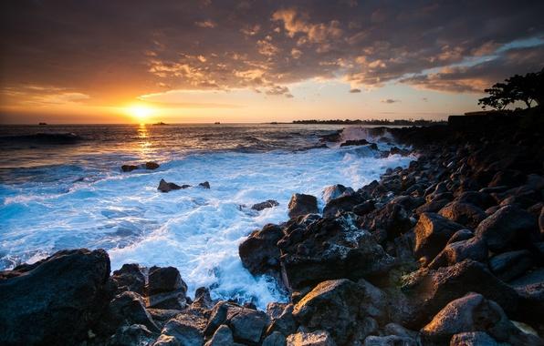 Picture sunset, stones, the ocean, coast, Hawaii, Hawaii