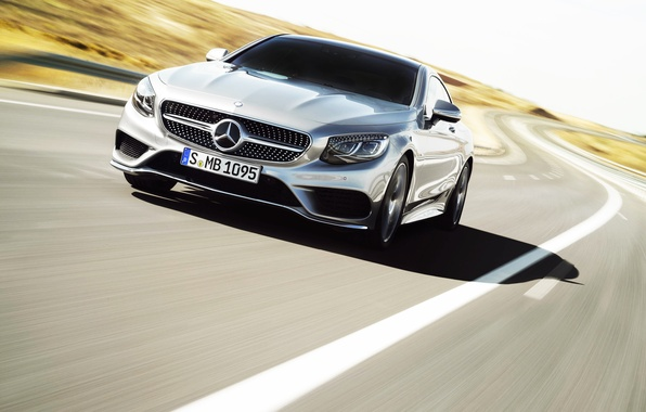 Picture Mercedes-Benz, Auto, Road, Mercedes, Logo, Silver, Coupe, The front, In Motion, S-Class
