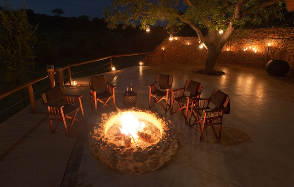 Picture fire, wine, the evening, terrace