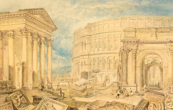 Picture picture, the ruins, columns, temple, ruins, the urban landscape, William Turner