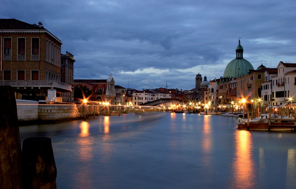 Picture city, the city, lights, Italy, Venice, channel, Italy, night, gondola, Venice