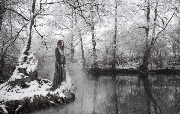 Picture winter, girl, snow, river