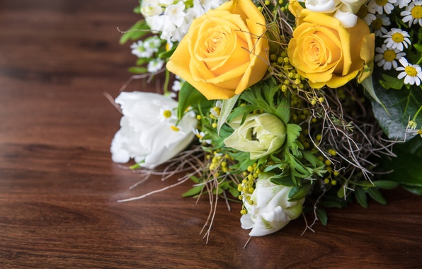 Picture leaves, flowers, roses, chamomile, bouquet, yellow, tulips, white