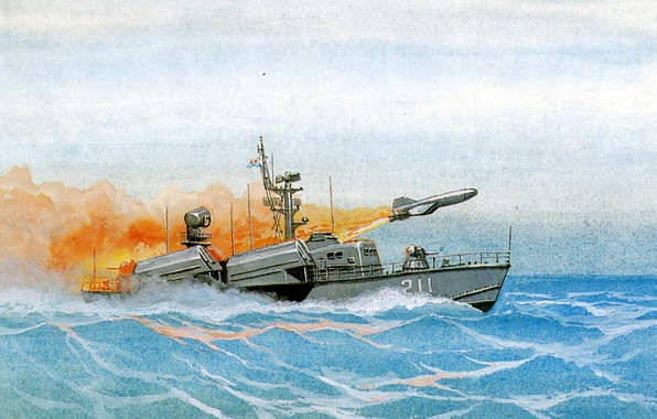 Picture figure, large, missiles, art, boat, watercolor, exercises, start, rocket, project, 205, P-15U