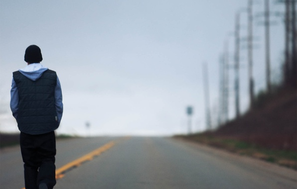 Picture loneliness, guy, walk, Eminem
