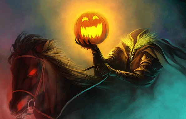 Picture horse, humor, art, Halloween, pumpkin, without a head, rider, burning eyes