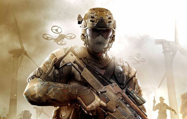 Picture weapons, soldiers, windmills, call of duty, military, black ops 2