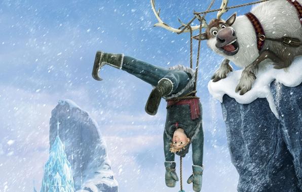 Picture snow, snowflakes, ice, deer, Frozen, Kingdom, Walt Disney, animation, Walt Disney, 2013, Cold Heart, Hans, …