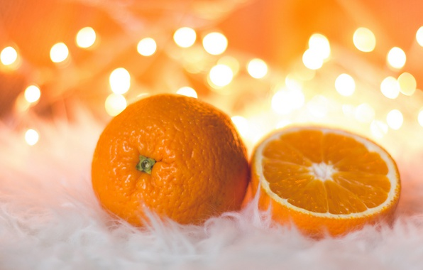 Picture orange, mood, holiday, new year, food, Christmas, oranges, fur, fruit, bokeh, composition, citrus