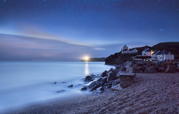 Picture sea, beach, stars, night, calm, lighthouse, home