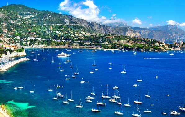 Picture sea, landscape, mountains, coast, France, home, yachts, boats, boats, Nice, Nice