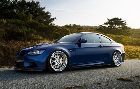 Picture blue, bmw, BMW, drives, side view, e92, BBC, laguna blue