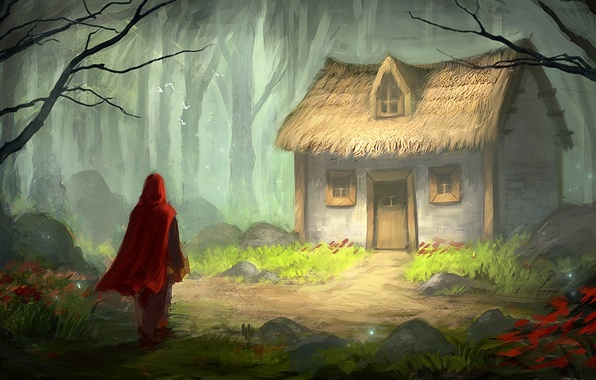Picture forest, birds, house, tale, little red riding hood, art, cloak