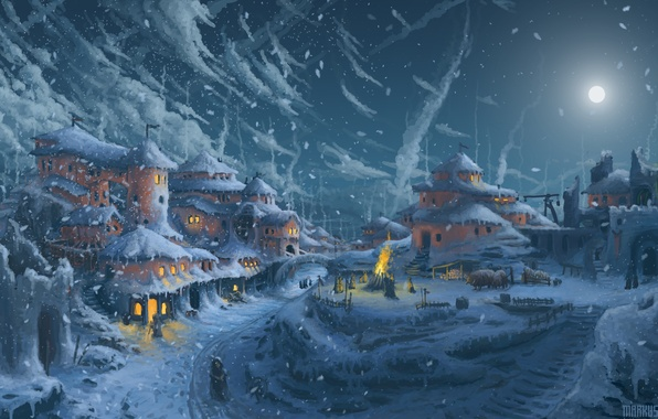 Picture cold, road, light, snow, night, the moon, home, art, the snow, painting, Windows
