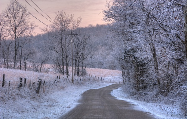 Picture winter, frost, road, light, snow, landscape, nature, color, morning