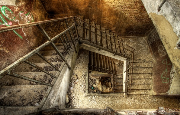 Wallpaper Staircase Bricks Dirt Rubble Painted Walls