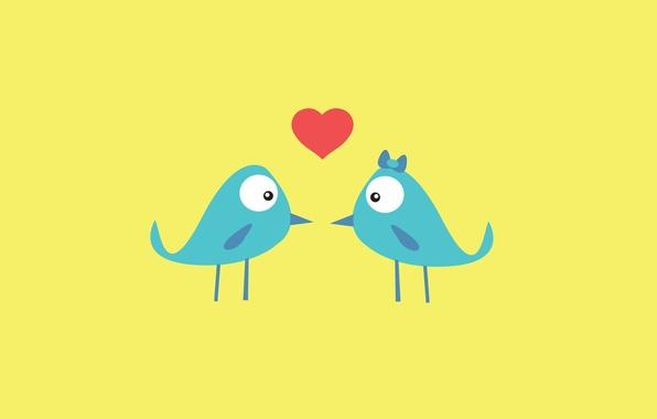 Picture love, birds, background, pink, blue, Wallpaper, heart, texture, feathers, beak, birds, love, cartoon, Serdechko