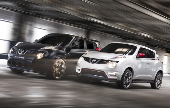 Picture white, black, speed, Nissan, Nissan, the front, crossover, Juke-R, Juke
