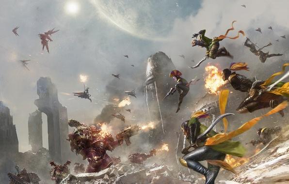 Picture fiction, war, art, battle, Warhammer, warhammer 40000, eldar, Warhammer 40K, WH40K, Emp Children, Harlequins