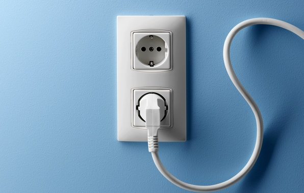 Picture wall, blue, cable, outlet