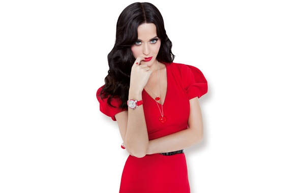 Picture decoration, model, makeup, dress, brunette, hairstyle, Katy Perry, Katy Perry, white background, singer, in red, …