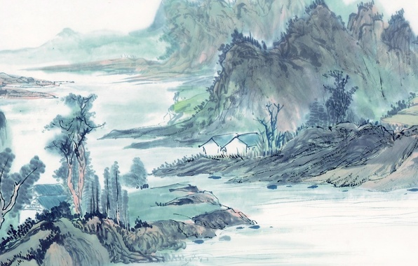 Picture nature, river, shore, home, the evening, art, watercolor