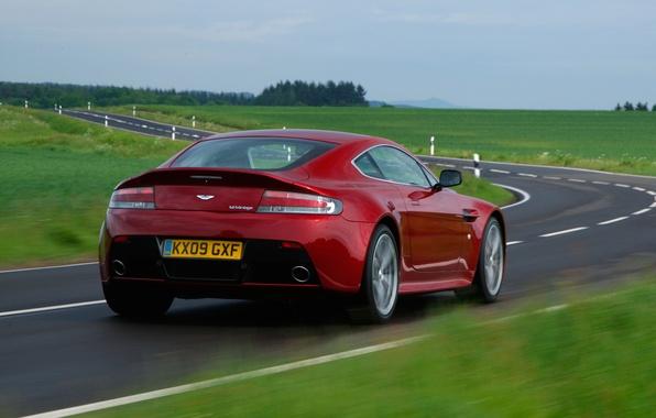 Picture road, auto, Wallpaper, Aston Martin, Vantage, V12, back