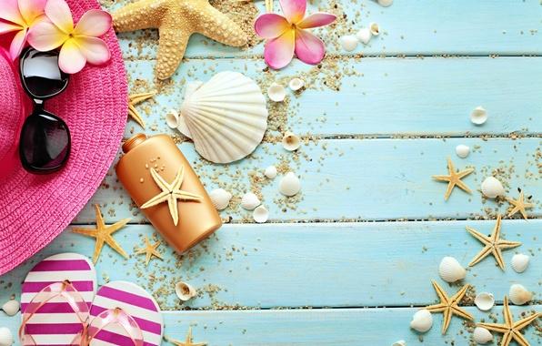 Picture flowers, hat, glasses, shell, starfish, summer, wood, marine, still life, slates, vacation, starfish, accessories, seashells