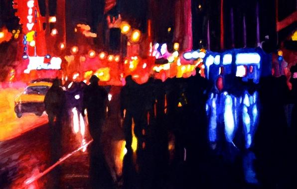 Picture night, movement, street, light, Art, night, art, street