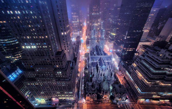 Picture road, night, the city, lights, street, Windows, building, New York