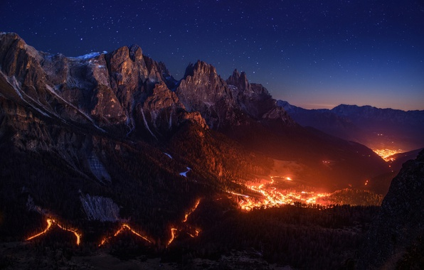 Picture the sky, stars, light, mountains, night, fire, valley, Alps