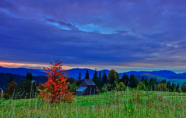 Picture autumn, the sky, clouds, trees, mountains, clouds, nature, the evening, slope, hdr, Romania