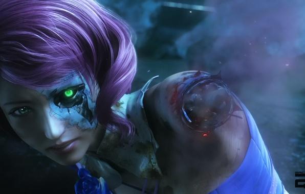 Wallpaper Look, Girl, Face, Hair, Art, Cyborg, Tekken 6