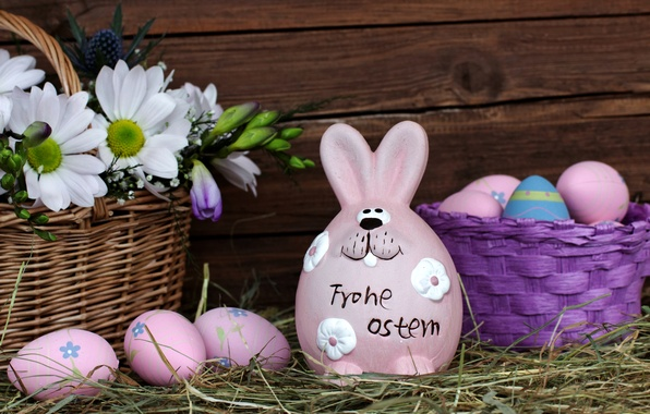 Picture flowers, holiday, Board, eggs, rabbit, Easter, hay, Easter, eggs, basket