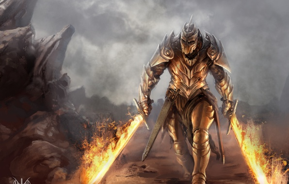Picture armor, dragon, cave, human form, battle axe