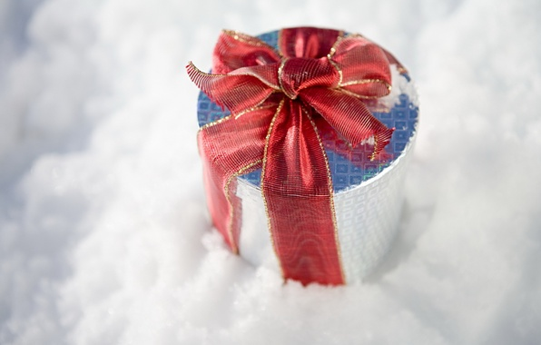 Picture winter, snow, holiday, gift, new year, new year, winter, ribbon, snow, box