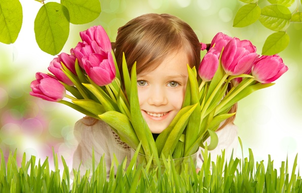 Picture grass, leaves, flowers, branches, smile, bouquet, girl, tulips, child
