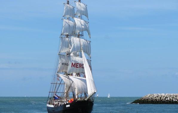 Picture sea, sailboat, Mercedes, North sea, North Sea