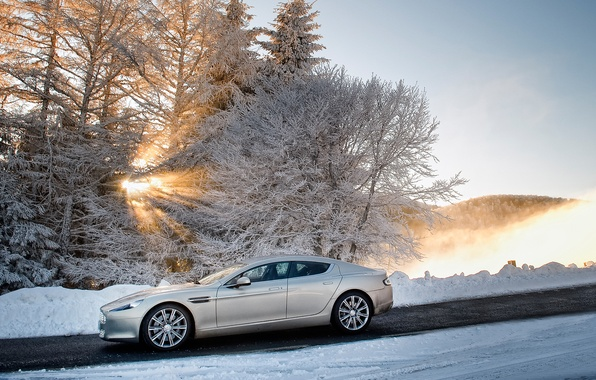 Picture winter, the sky, the sun, snow, trees, Aston Martin, Rapide, sedan, side view, Aston Martin, …