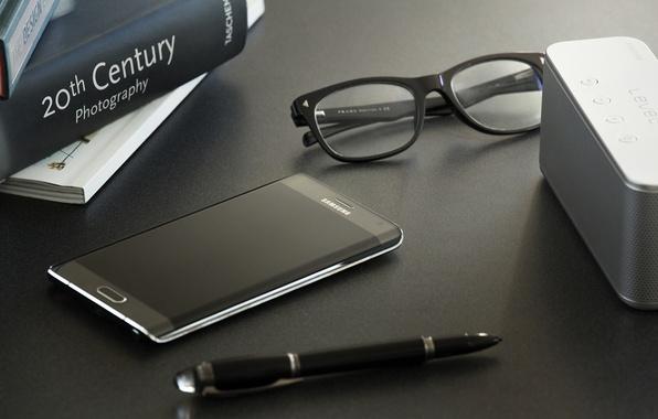 Picture Android, Galaxy, Edge, Samsung, Glasses, 2015, Smartphone, Pen, Books