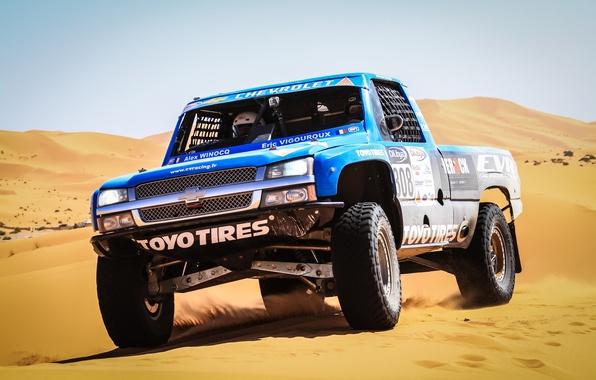 Picture Sand, Auto, Blue, Chevrolet, Machine, Race, The hood, Day, Car, Heat, Blue, Rally, Dakar, Dakar, …
