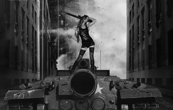 Picture girl, weapons, tank