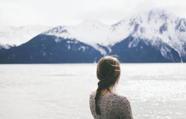 Picture water, girl, mountains, the wind, braid, pigtail